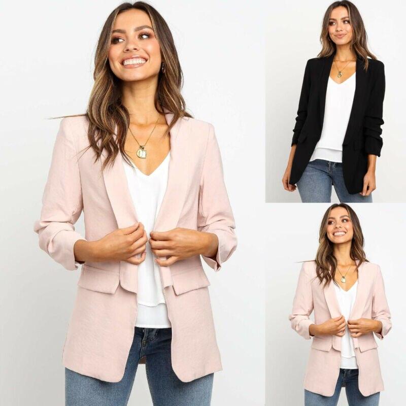 Blazer Jacket Coat Womens Casual Ladies Slim Lapel Business Outwear Suit Tops