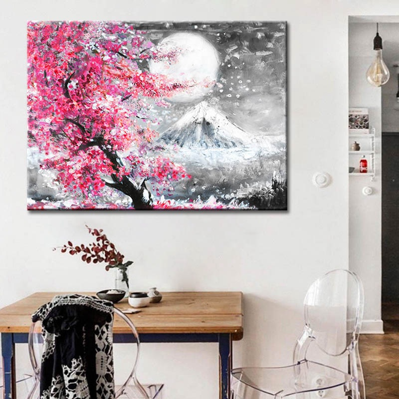 Japanese Style Cherry Blossom Fuji Mountain Landscape Watercolor Oil Painting Canvas Printing Home Painting Frameless Wall Art