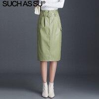 New Fashion Leather Skirt Women 2019 High Quality Black Green Apricot PU Skirt High Waist Occupation Work Pencil Skirt Female