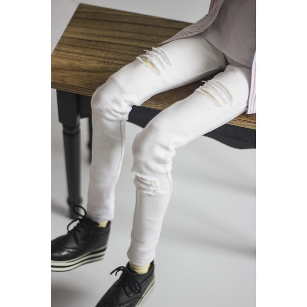 [wamami] Perforated Small Leg Elastic White Jeans 1/3 1/4 SD17 BJD Dolls Outfits