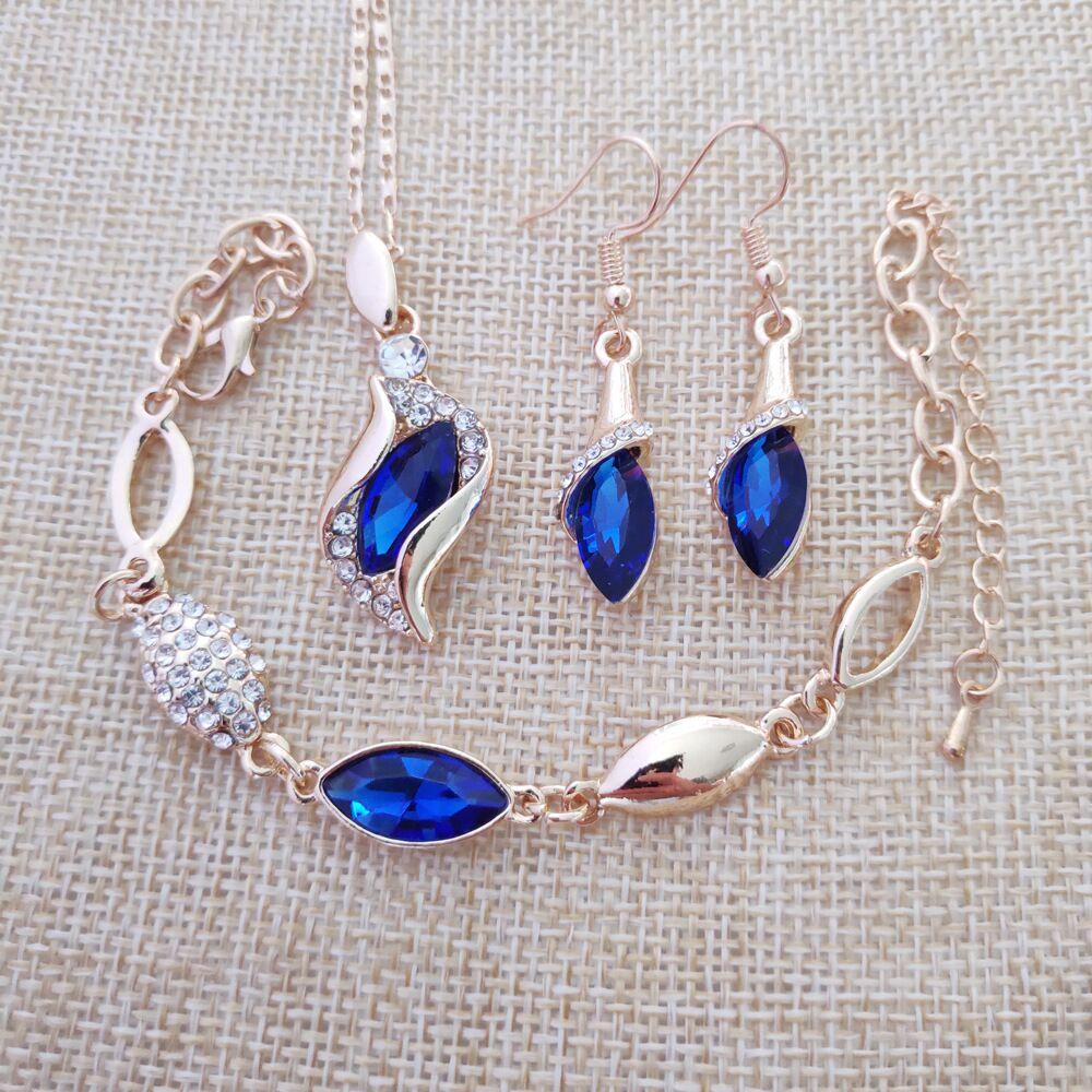 Fine Jewelry 925 Sterling Silver For Women's Wedding Angel Elf Jinbao Blue Necklace Earrings Bracelet Set Yw041