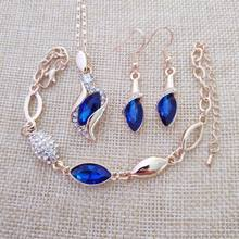 Fine Jewelry 925 Sterling Silver for Women's Wedding Angel Elf Jinbao Blue Necklace Earrings Bracelet Set yw041(China)