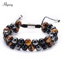 Tiger Eye Stone Bracelet Men Women Healing Natural Hematite Black Onyx Double Row Adjustable Yoga Beads