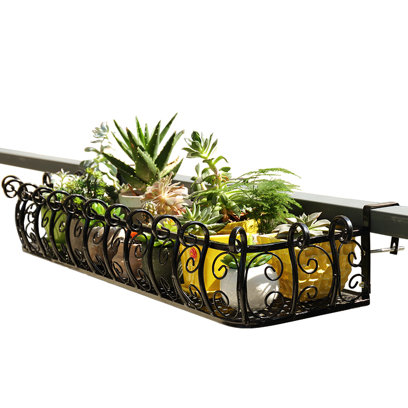 European style iron railing flower stand balcony guardrail hanging succulent   wall   pot rack anti-thef
