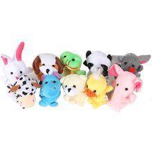 10Pcs Cartoon Animal Finger Puppets Set Mini Plush Baby Boys Girls  Story Telling Hand Cloth Doll Educational Toys