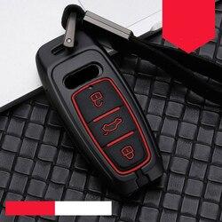 רכב מפתח caseZinc סגסוגת סיליקה ג 'ל לאאודי A6L A7 A8 Q8 2018 2019 רכב מפתח מקרה חכם מחזיק כיסוי keychain רכב מפתח שרשרת