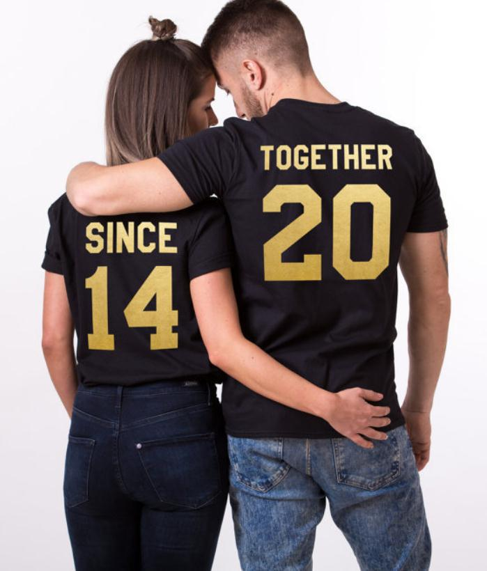 Together Since Letter Print T Shirt Couple Short Sleeve O Neck Loose Lovers Tshirt 2019 Summer Women Tee Shirt Tops