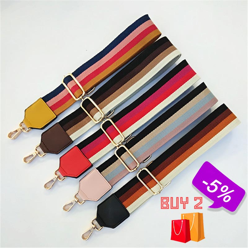 New Nylon Belt Shoulder Bag Strap For Crossbody Women Wide Straps For Bags Striped Handles Adjustable Strap Bag Accessories W059
