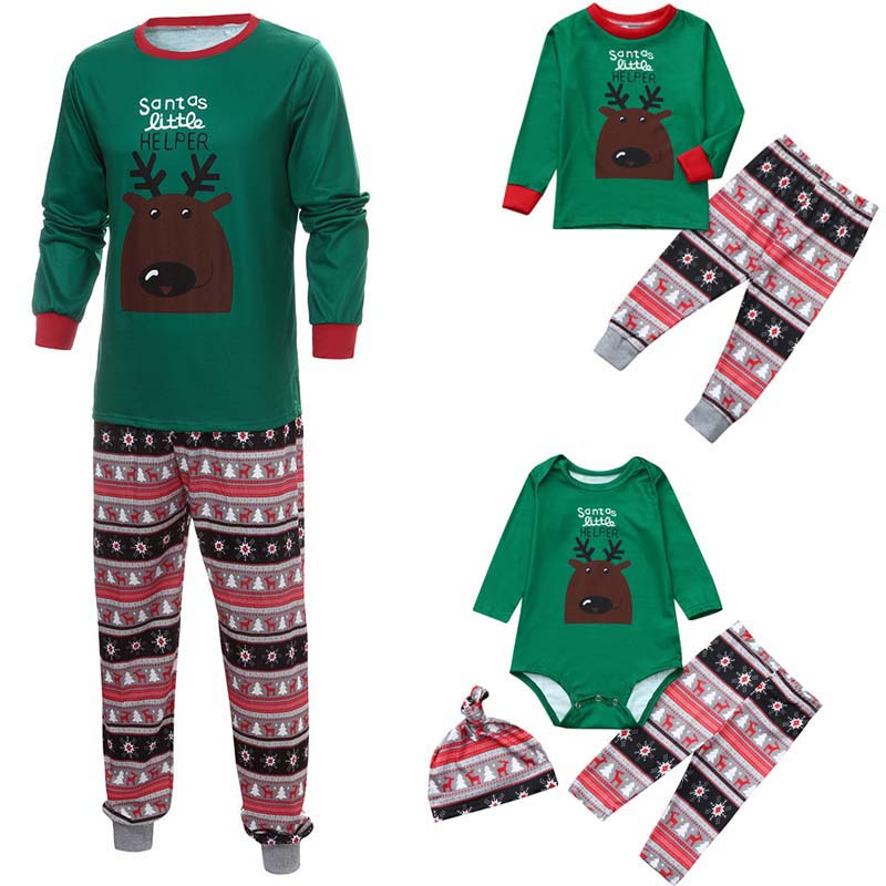 Christmas Family Pyjamas Set 2019 Adult Women Men Kids Baby Clothing Deer Nightwear Pajamas Green Home-wear Xmas