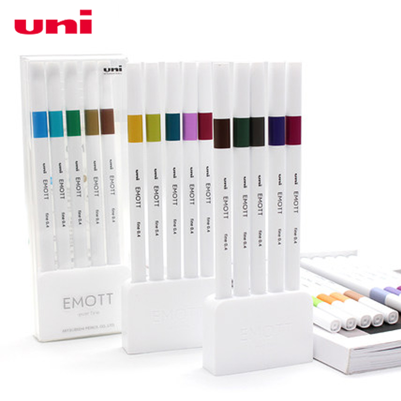 5color/set UNI Fiber Pen PEM-SY EMOTT Water-based Color Hand-painted Hook Hook Line Pen Art Drawing Hand Account Pen Student 0.4