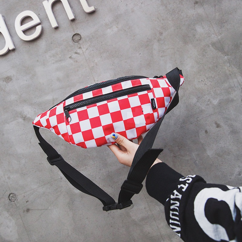 Plaid Waist Bags Women Canvas Unisex Handy Belt Bag Fashion Fanny Pack Female Travel Lady Crossbody Chest Bags Cell Phone Pocket