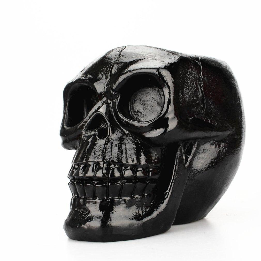 Portable Black Skull Head Pen Holder Storage Box Resin Statues Home Desk Decor Birthday Gift Halloween Party Decoration