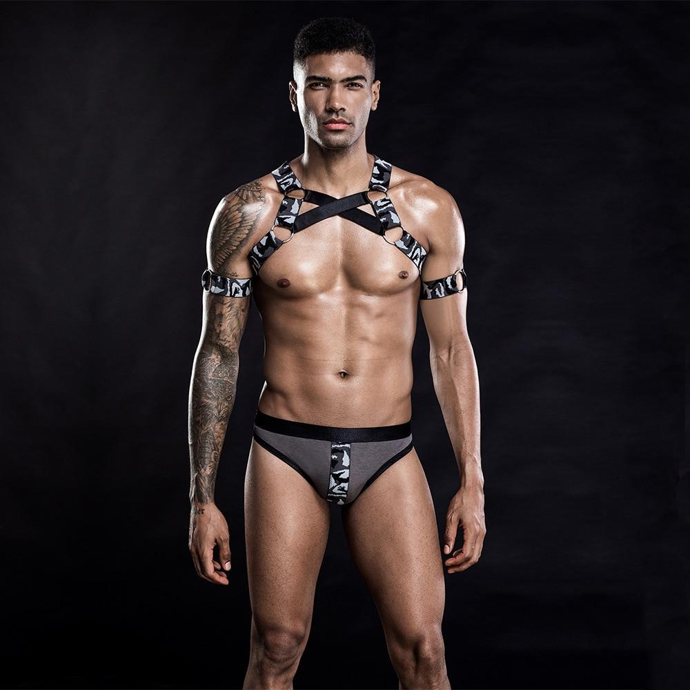 Man Nightclub Costume Body Chest Harness Bondage Adult Bar Show Uniform Spartan Warrior Lingerie Temptation Exotic Underwear