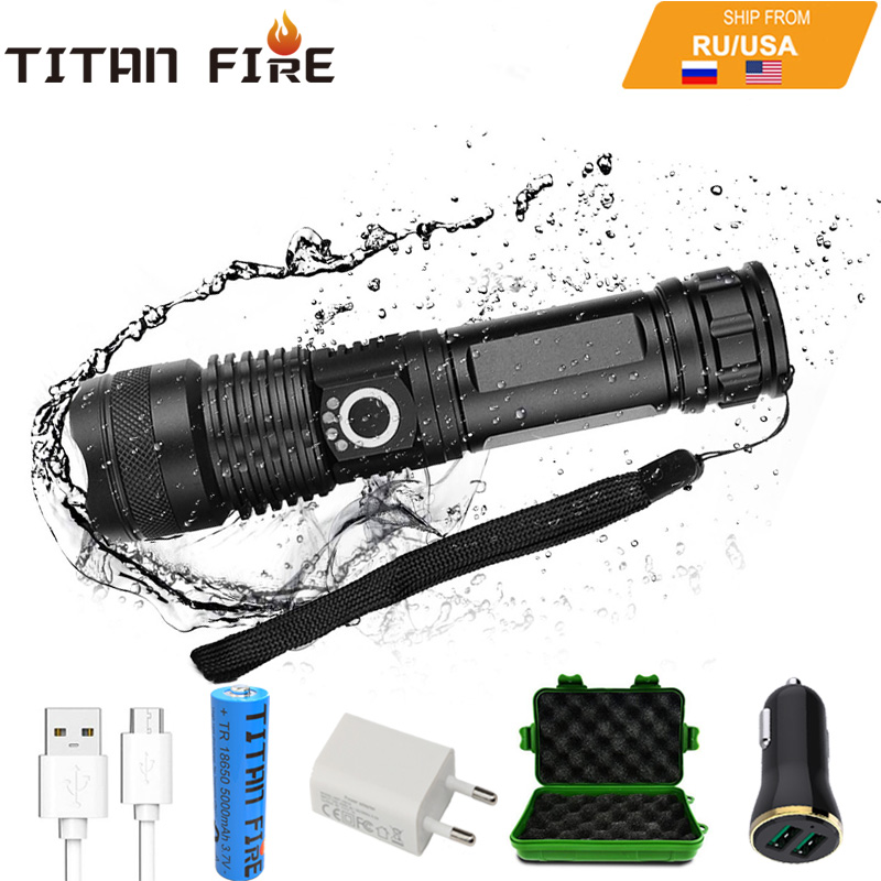 T20 LED Flashlight XHP50 Powerful High Lumens 18650 USB Rechargeable LED Torch Zoomable Light for Outdoor Camping Hiking Hunting