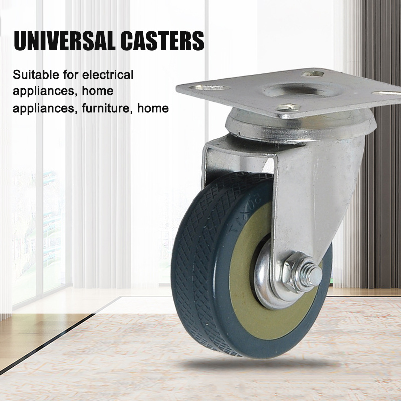 Color : Universal, Size : 3in Hongqi Caster Wheels Swivel Plate Stem Casters on Red Polyurethane Heavy Duty Wheel for Replacement Carts Workbench Size Name:3in Colour Name:Side Brake