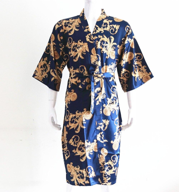 Navy Blue Chinese Vintage Men's Robe Casual Sleepwear Satin Rayon Nightwear Printed Dragon Bathrobe Kimono Gown Negligee