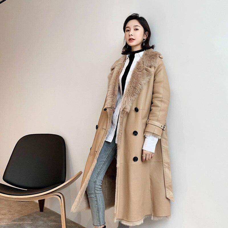 2019 Winter Real Fur Coat Women Natural Sheep Shearling Jacket Women Long Genuine Leather Coats Windbreaker A19CP19087 KJ3399