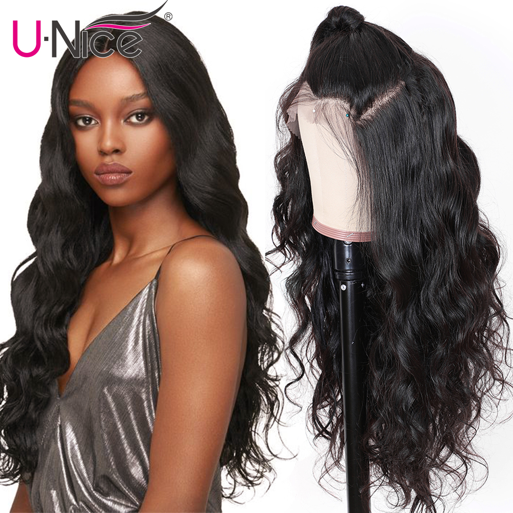 Ha0179a7c64694fc29c747d17f3279f9dD UNice Hair 13X4/6 Transparent Lace Wigs With Baby Hair Body Wave Invisible Lace Front Human Hair Wigs Pre-Plucked Lace Wigs