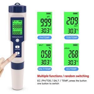 5 in 1 PH/TDS//EC Tester di Temperatura Digitale Monitorare la Qualità Dell'acqua del Tester del Rivelatore per le Piscine di Acqua Potabile acquari PH Meter