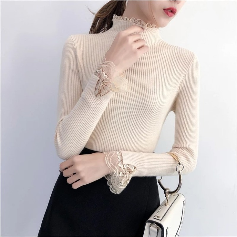 Women Autumn Spring New Leisure Korean Tight Sweater Women's Long Sleeve Lace Patchwork Knitted Turtleneck Pullover Sweaters Top