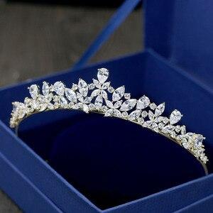 Image 5 - SLBRIDAL מדהים מעוקב זירקון חתונה נזר CZ כלה סרט מלכת נסיכת תחרות מסיבת כתר השושבינות נשים תכשיטים
