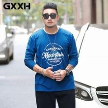 T-Shirt Oversized Long-Sleeve Print Fashion Brand Letter 6XL GXXH Guy 7xl-Fat Blue Tide