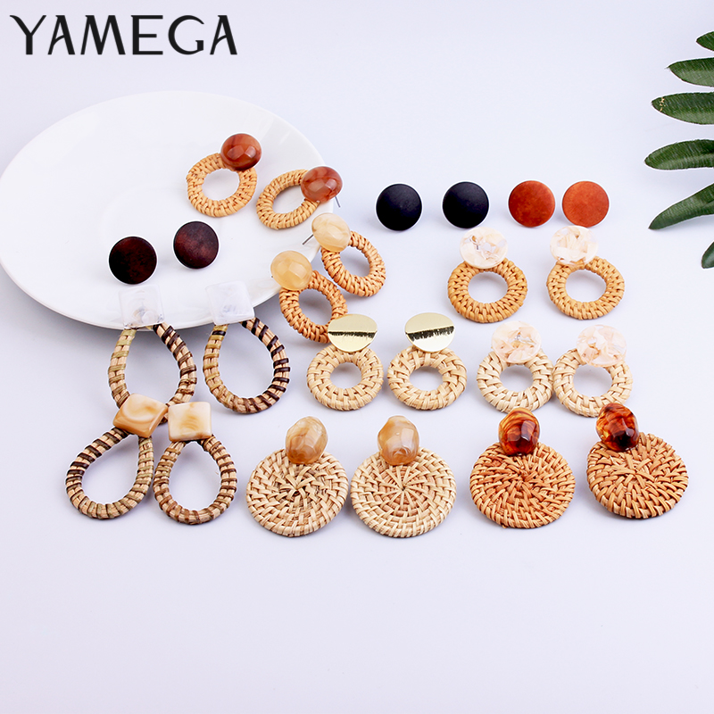 YAMEGA Handmade Korean Wooden Straw Woven Rattan Vine Braid Drop Earrings Unique Geometric Drop Circle Earrings For Women