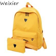 Холщовый Рюкзак с принтом сердца желтый Дорожный рюкзак в Корейском