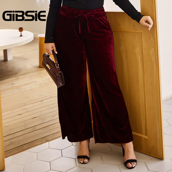 GIBSIE Autumn Winer Solid Velvet Wide Leg Pants Women Plus Size Ruffles High Waist Trousers Casual Ladies Big Size Belt Pants