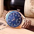 Nova Marca de luxo Homens Mecânico Automático de Ouro Rosa Azul Branco Cerâmica Aço Inoxidável Bezel James Bond 007 Relógio de Safira AAA +