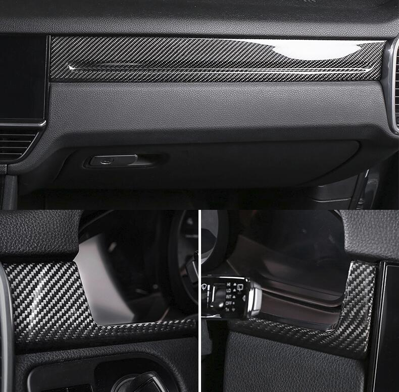 Car Styling 7pcs Carbon Fiber Interior Trim Cover For Porsche Cayenne S Gts Turbo 2018 2019 Chromium Styling Aliexpress