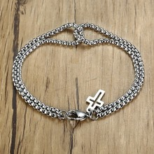 Vnox Retro Interlocked Double Box Chain Bracelets For Women Men Handmade Stainless Steel Cross Pulseira Accessories