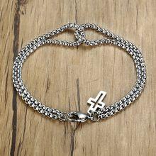 Vnox-pulsera de cadena de acero inoxidable entrelazada para hombre y mujer, brazalete con doble caja, estilo Retro, hecho a mano