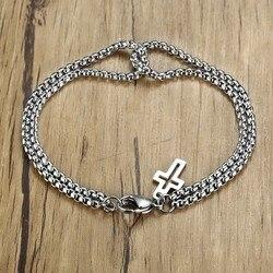 Vnox Retro Interlocked Double Box Chain Bracelets For Women Men Handmade Stainless Steel Cross Pulseira Accessories