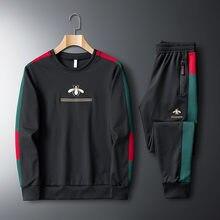 Casual Männer Kleidung Männer der Trainingsanzug Sportsuit Sportswear Mann Zwei Stück Sets 2020 Elastische Bestickt Jogging Homme Marke Anzug