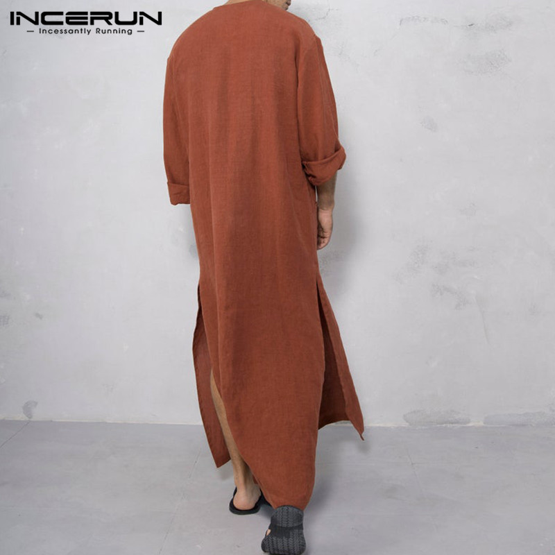 INCERUN Vintage Men Islamic Arabic Jubba Men Men's Clothings Men's Kaftan