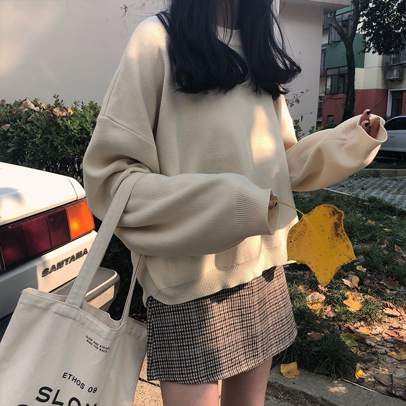 6 Colors Korean Solid Color Knitted Sweaters Women Basic Long Sleeve Loose Front Short Back Long Sweater Female (X959)