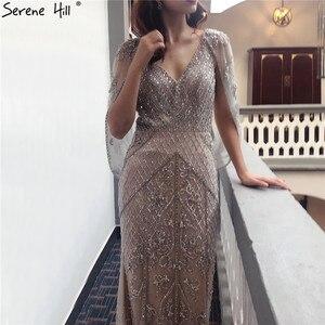 Image 5 - Dubai Grey Nude V Neck Sexy Evening Dresses 2020 Crystal Sleeveless Shawl Yarn Formal Dress Serene Hill LA70382