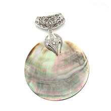 XINYAO VINTAGE Mother of Pearl SHELL จี้เงินโบราณชุบ Abalone SHELL จี้ Charms (China)