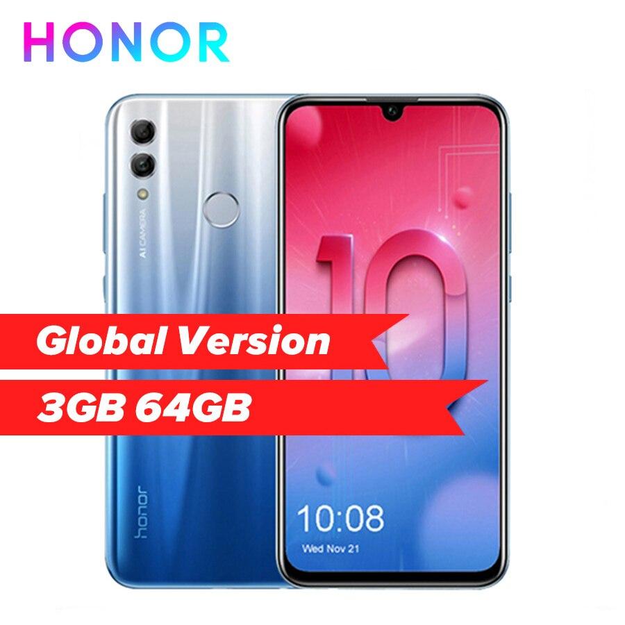 "Honor 10 Lite 4G Android 9.0 6.21"" FHD 2340X1080 Dual Font Rear 24MP Camera Fingerprint Octa Core Mobile Phone"