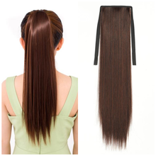 30Inch Synthetic Fiber Hair 4Colors Chip-in Hair Extensions Ponytail Synthetic Straight Hair For African Afro Women