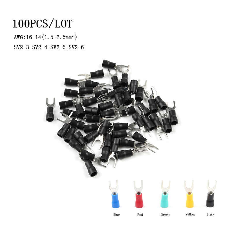 100PCS/Pack SV2-4/3/5/6 Furcate Cable Wire Connector Furcate Pre-Insulating Fork Spade 16~14AWG Wire Crimp Terminals DIY YOU