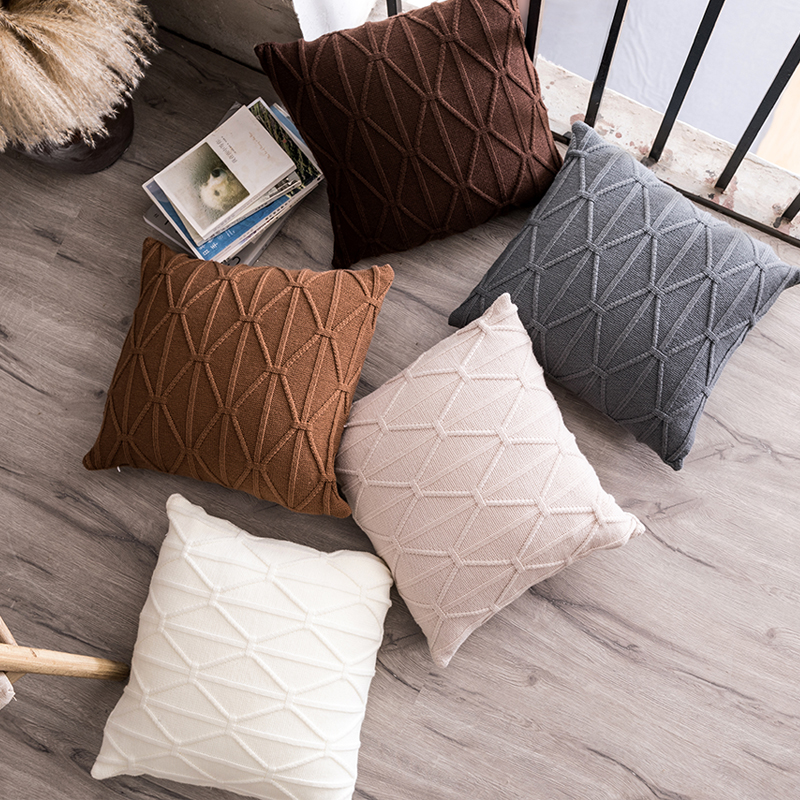 Knit Cushion Cover Soft Knitted 45x45cm Brown Grey Ivory Pillow Cover Nordic Style Grey Ivory Coffee 45x45cm  Home Decoration