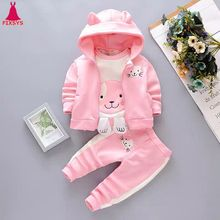 6M-4T Baby Girls Clothes Set 3Pcs Coats Thicken Cartoon 2019 Winter Warm Sport Boys Clothes Suits Toddler kids Clothing Sets
