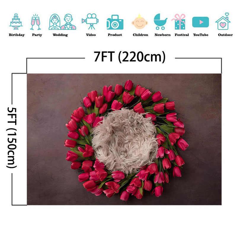 Einfarbig Traum Baby Neugeborenen Fotografie Hintergrund Rot Kranz Blume Neugeborenen Portrait Fotografie Kulissen Für Foto Studio