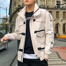 Студенческая японская куртка-бомбер для мужчин хаки Повседневная Хип-хоп куртки с капюшоном осенние мужские армейские военные уличная карго пальто