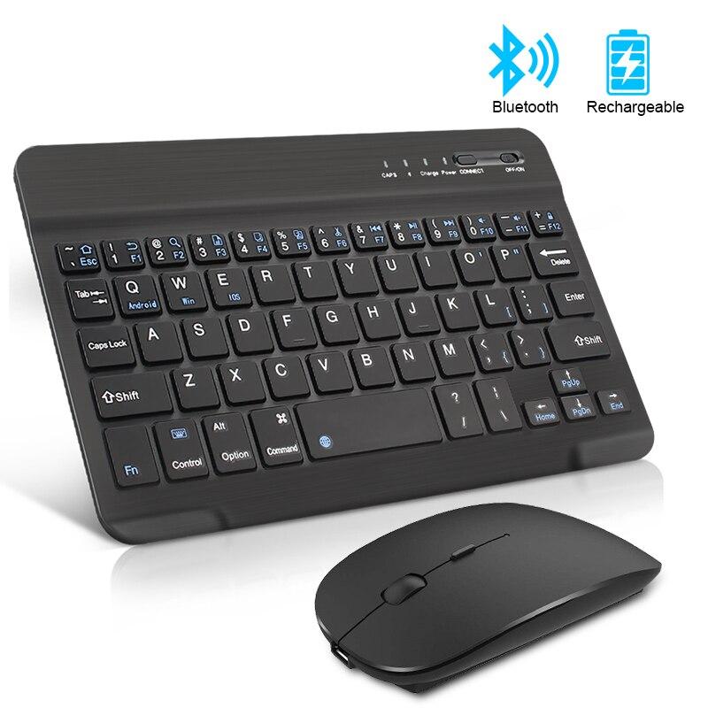 ชาร์จคีย์บอร์ดไร้สาย Mini Bluetooth Keyboard พร้อม Mouse Noiseless ERGONOMIC คีย์บอร์ดสำหรับแท็บเล็ตพีซีโทรศัพท์