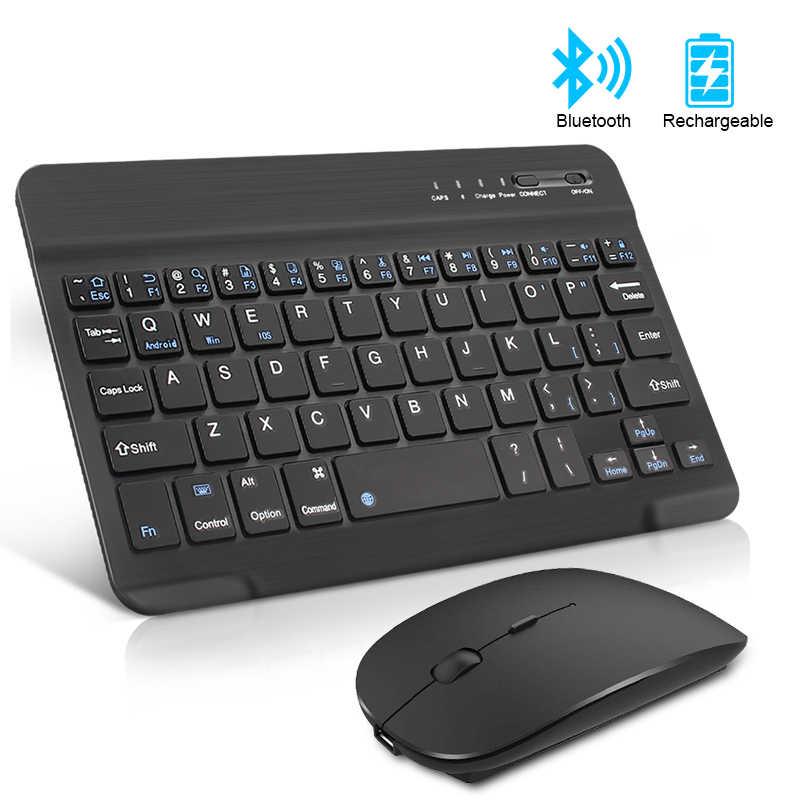 Isi Ulang Keyboard Nirkabel dan Mouse Mini Bluetooth Keyboard dengan Mouse Bersuara Ergonomis Keyboard untuk PC Tablet Ponsel