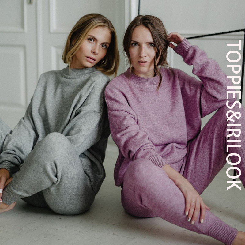 Toppies 2020 winter gestrickte zwei stück set damen trainingsanzüge hohe taille jogger bleistift hosen outfits für frauen