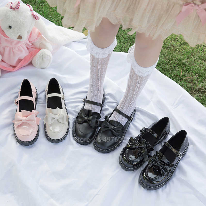 Japanischen College Student Mädchen Runde Kappe Schnalle Riemen Bogen Schuhe Lolita JK Pendler Uniform Lovelive PU Leder Schuhe 3 Farben